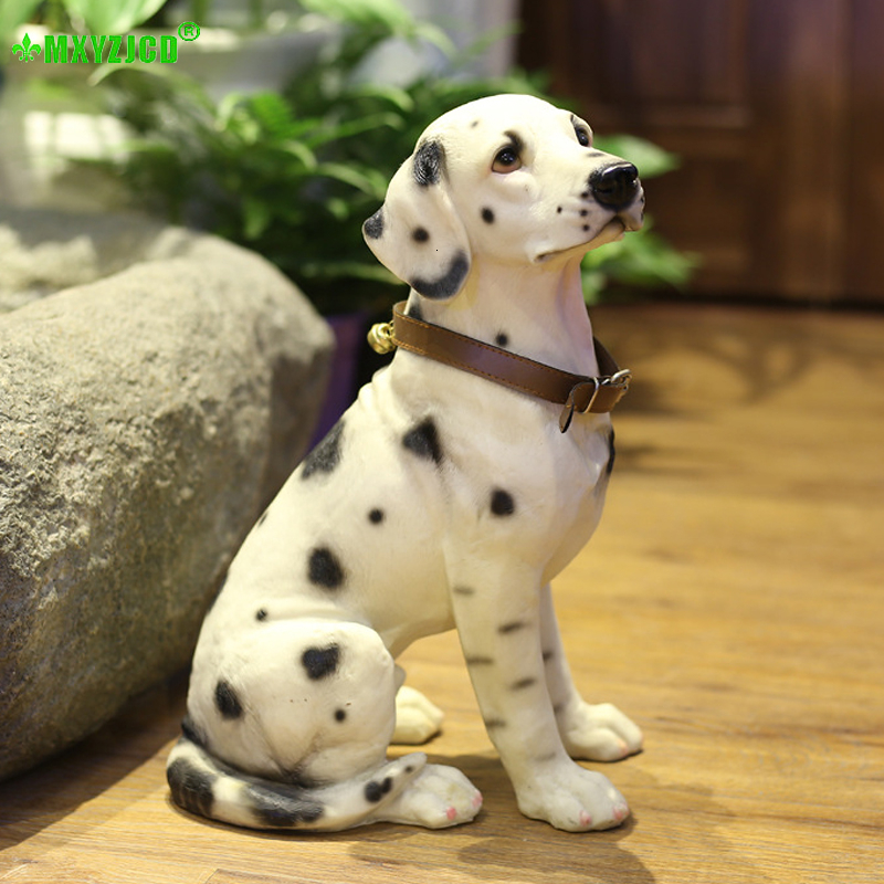 Piebald Dog Resin Decoration Simulation Animal Sculpture Crafts Bell Puppy Garden Landscape Props Home Decorations