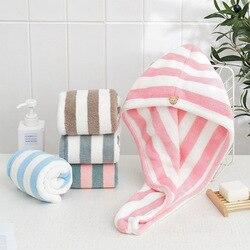 Serviette en microfibre à séchage rapide, serviette enveloppante pour cheveux, Super absorbante, bouton ours, produits de salle de bains en velours de corail