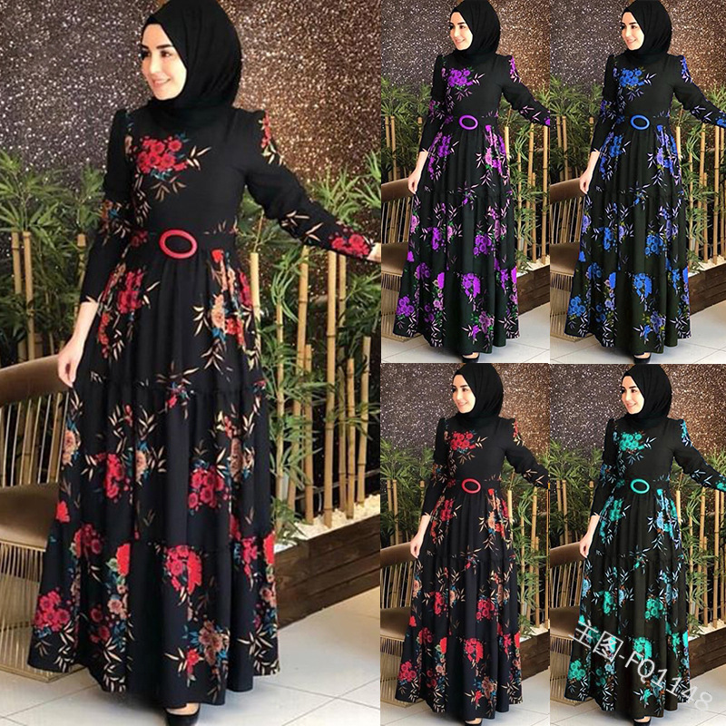 2019 Fashion Women Dress Muslim Abaya Islamic Full Sleeve Floral Flower Casual Autumn Ruffles Ladies Long Maxi Dresses
