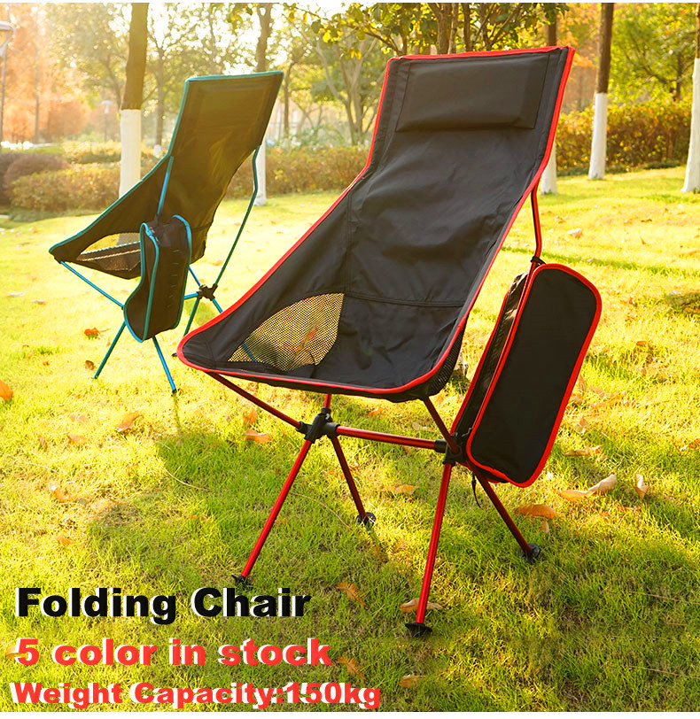 Portable Ultralight Folding Chair Outdoor Camping Travel Beach Fishing Chair 150kg BBQ Home Office Seat Moon Oxford Cloth Chair