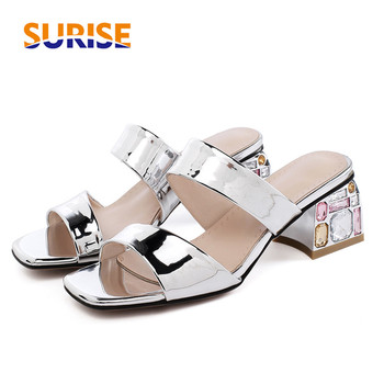Silver Mirror PU Women Slippers 5.5cm High Rhinestone Square Heels Casual Lady Slippers Outdoor Gold Shiny Slip-on Summer Shoes