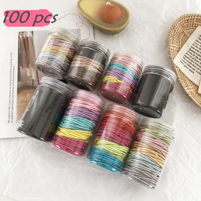 100 Pcs Chilren Girls Colorful Thick/Thin With Box Elastic Hair Band Scrunchie Hair Accessories Kids Girls DIY Headwear Hair Gum