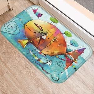 Image 2 - Hand painted Cartoon Pattern Non slip Mat Bedroom Hotel Decorative Carpet Kitchen Floor Home Living Room Floor Mat Bathroom Mat.