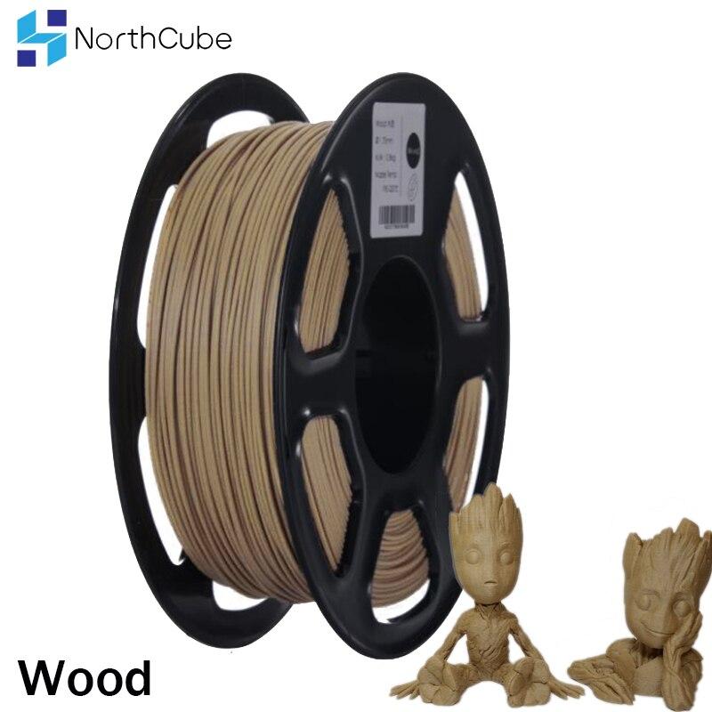 Filamento de madeira do pla da fibra da impressora 3d de northcube 1.75mm 0.8 kg/rolo efeitos de madeira filamento da cor semelhante para a impressora 3d