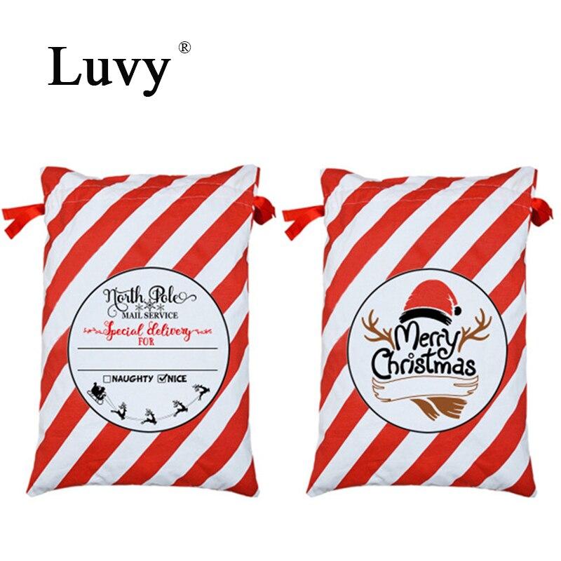 1pcs Santa Sacks Handmade Saco de Cordão Presente de Natal Decorações Do Partido Lona Candy Cane Saco Crianças Saco Do Brinquedo Grande Presente tote