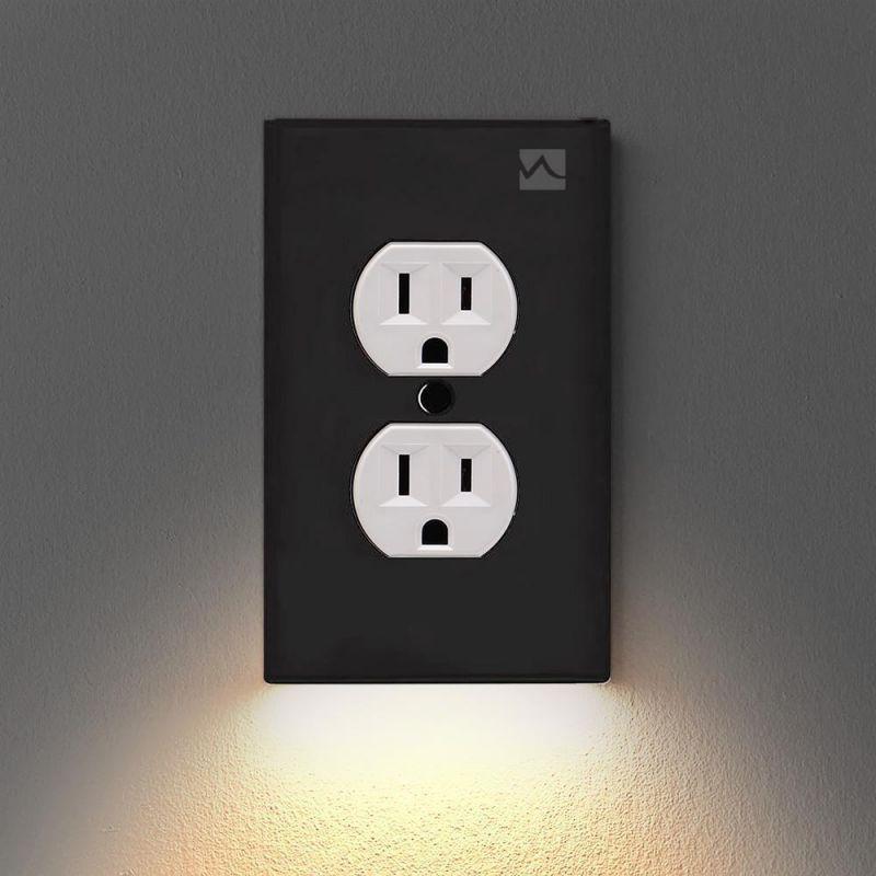 Розетка настенная тарелка с светодиодный Ночные огни-нет батареи или провода настенный выключатель Мощность розетка ПК Панель для комнаты ...