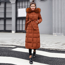 Coat 2019Top Women Outerwear Fur Hooded Coat Long Cotton-padded Jackets Pocket Coats zippered pocket hooded padded coat