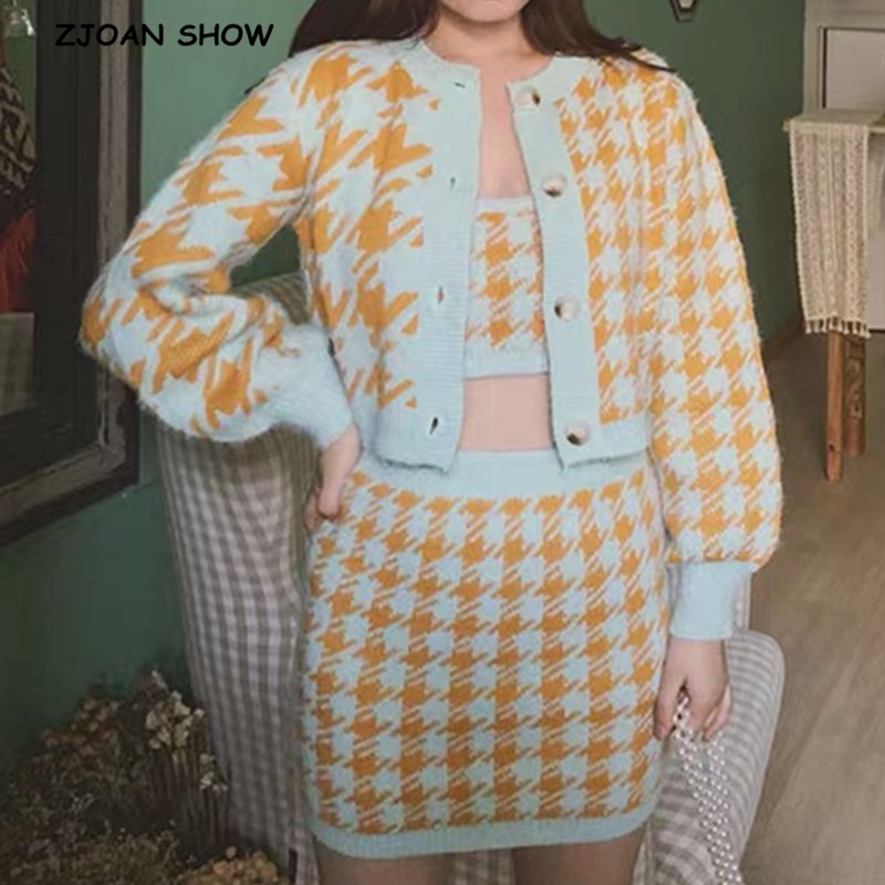 Vintage Set Shaggy Korea Style Check Gingham Plaid Cardigan Furry Single-breasted Button Tank Top Knitted Sweater Jumper 1 Set