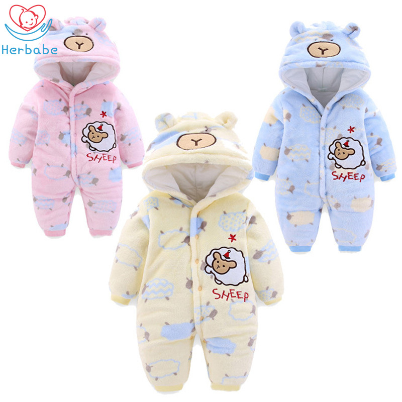 Newborn Kids Baby Boy Girl Cartoon Casual Hooded Romper Jumpsuit Outfits Clothes