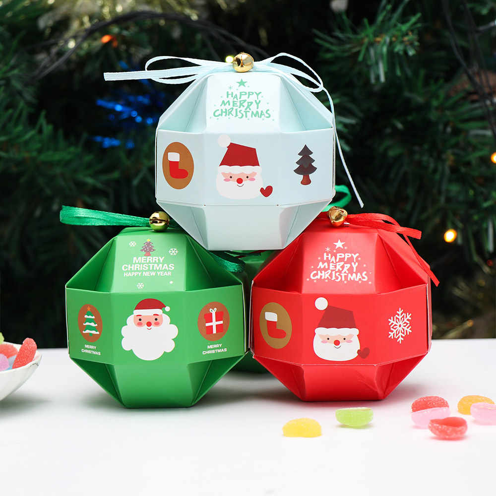 10PCS Merry Christmas Creative Candy Box Bag Christmas Tree Gift Box With Bells Paper Box Gift Bag Container Party  Supplies