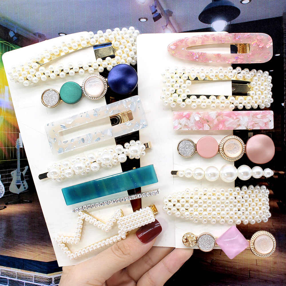 Ins Fashion 1Set Women Girls Elegant Pearls Hair Clips Sweet Headwear Hairpins Barrettes Acetate Hair Accessories set Hairwear