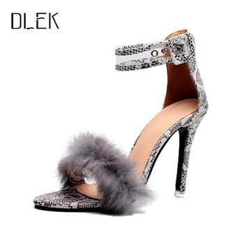 Dlek Fur Ankle Strap High (5cm-8cm) Thin Heels  Pointed Toe Party Summer Women Pumps High Heel Shoes Sexy gold silver high heels summer women sandals shiny sequined pointed toe thin heel female shoes wedding party shoes women stiletto