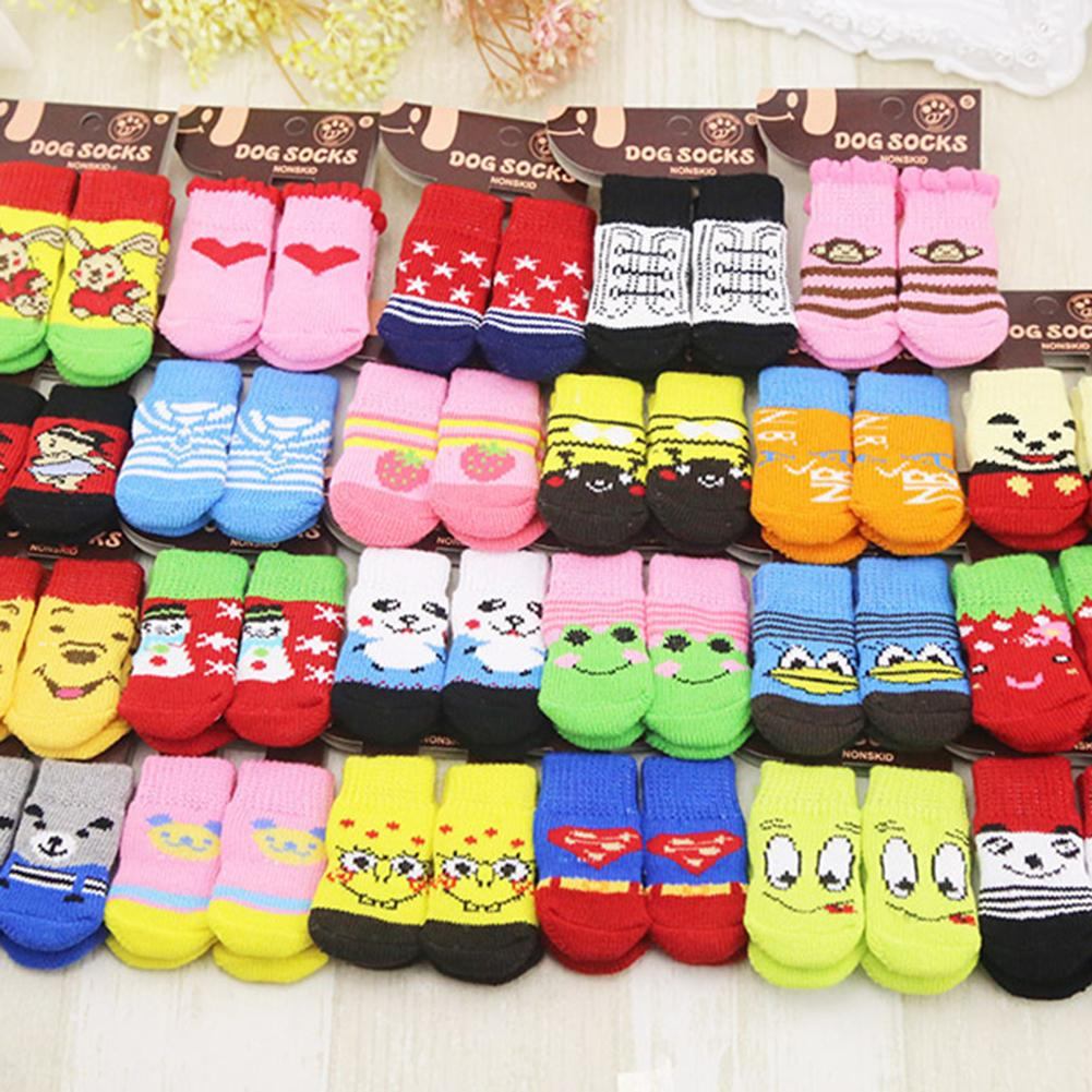 4pcs/Set Warm Cute Puppy Dog Knit Socks Small Dog Cotton Anti-Slip Cat Shoes For Autumn Winter Indoor Wear Slip On Paw Protector