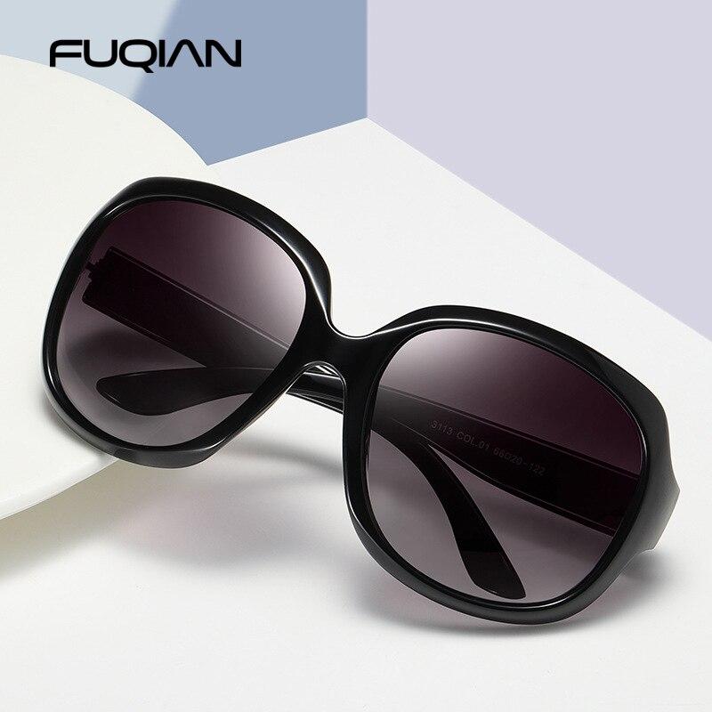 FUQIAN-lunettes de soleil rondes polarisées pour femmes, Design élégant, grandes lunettes de soleil en plastique, Simple, à la mode, UV400