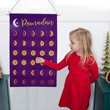 Calendario de Ramadán Eid Mubarak, calendario de fieltro con cuenta atrás para colgar, calendario de adviento de gran tamaño, decoraciones de regalo para niños, 2021
