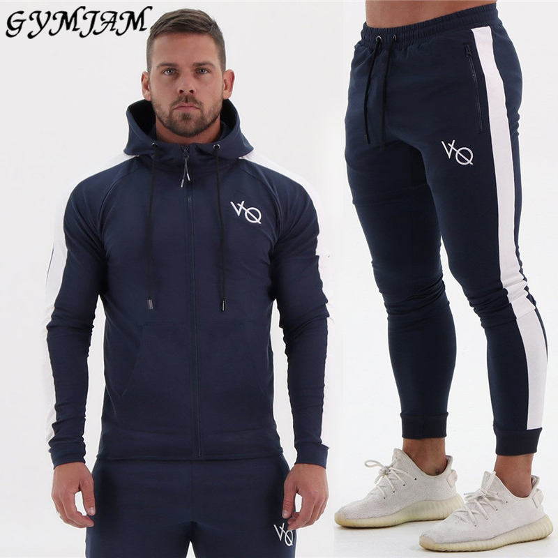 Streetwear Casual Men's Suit 2020 New Fashion Men's Sportswear Bodybuilding Workout Fitness Top Men's Hoodie + Men's Trousers