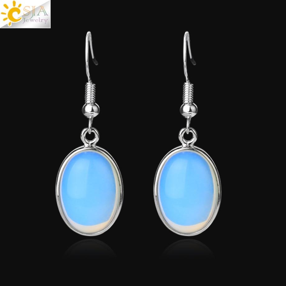 CSJA Oval Opal Stone Drop Earrings For Women Girl Pretty Little Things Silver-color Dangle Earring Vintage Ear Jewelry Gift G393