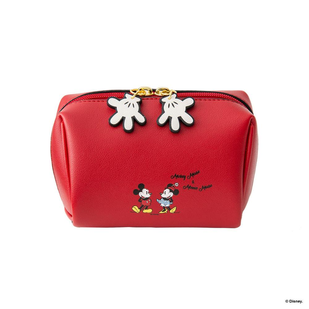 Disney Mickey Mouse Cosmetic Plush Purse Bag Lady Clutch Bag Cartoon Coin Pu Purse Bag  Holder Card Mini Storage Handbag