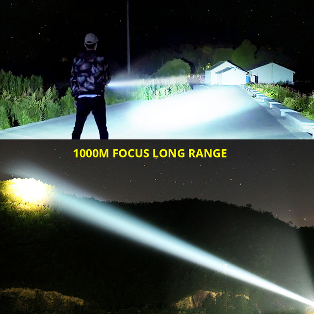 Ultra Bright LED Flashlight With 4 CoreP70.2 Lamp bead 3 Lighting modes waterproof camping huting light Powered by 26650 battery 5