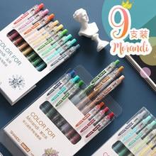 9 Pçs/set Morandi Cor Gel Pen 0.5 milímetros Pequeno Retro Fresco Imprensa Mão Criativa Conta Dedicada Para A Escola Estacionário Kawaii Menina