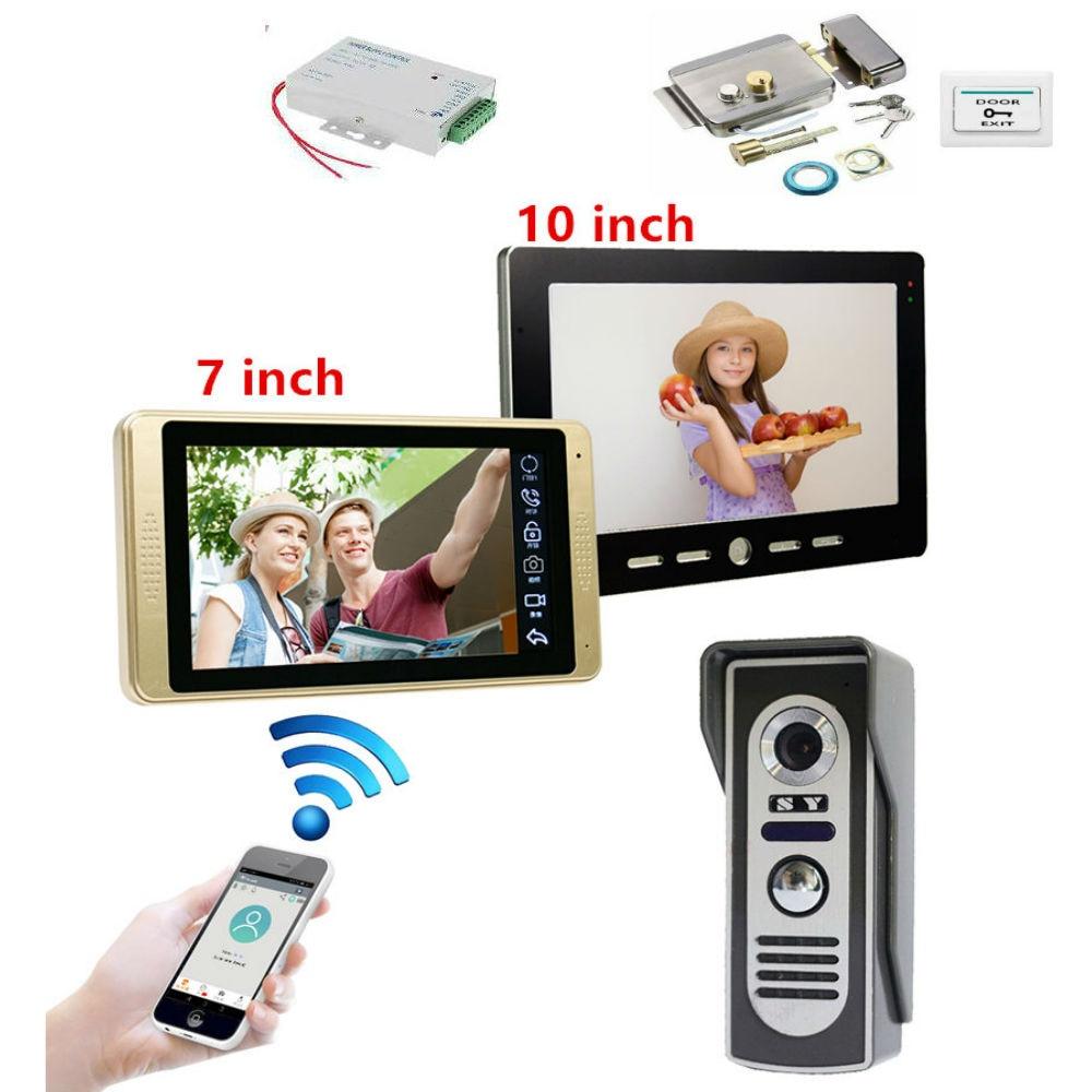 Visual Intercom Doorbell 10'' Wired WiFi Video Door Phone System Indoor Monitor 1000TVL Outdoor IR Camera Support Unlock