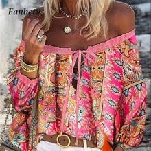 Sexy laço-up tassel slash neck chiffon blusa elegante manga alargamento chique blusas camisa outono feminino floral impressão boho blusa topos