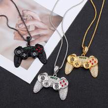 Hip Hop Game Machine Handle Necklace Pendant Men Full Crystal Long Chain Fashion Controller Punk Statement Jewelry