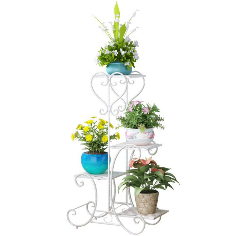 Wrought Iron Flower Shelf, A Hollow Multilayer Indoor European-style Balcony Floor Living Room More Than Other Simple Flowerpo