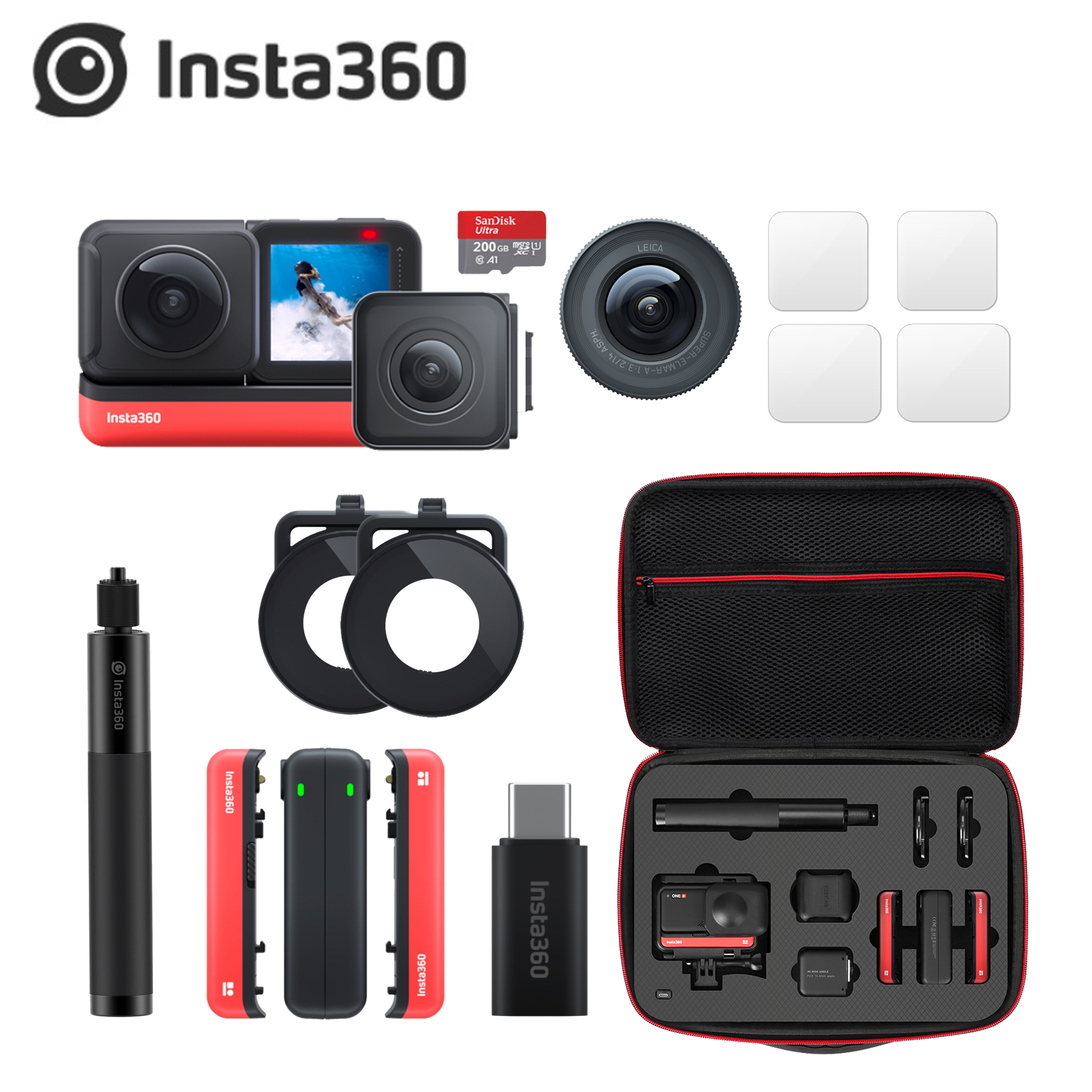 Insta360 Action-Camera Selfie-Stick One-R-Accessories Waterproof 360-4k Wide-Angle Invisible title=