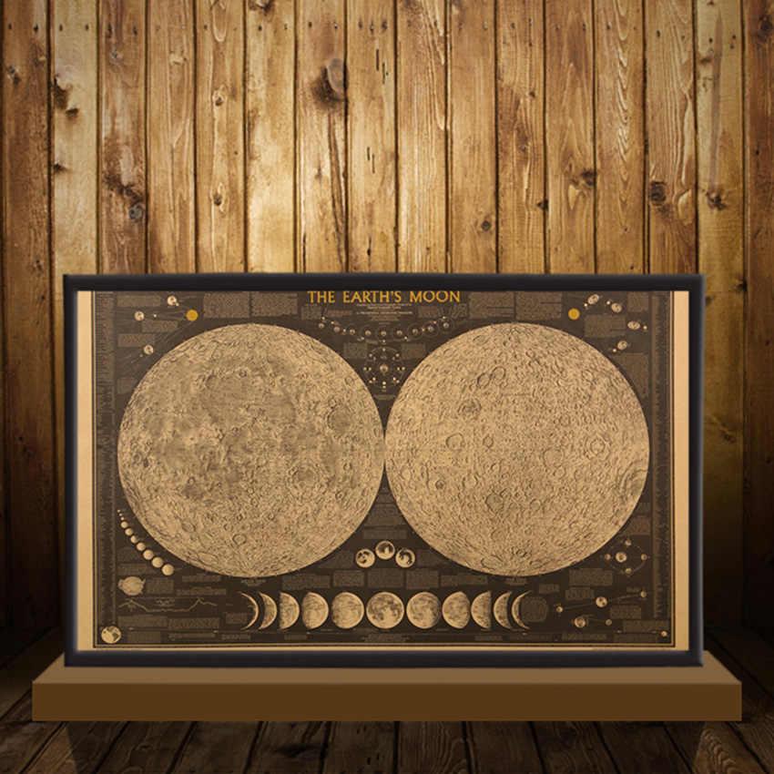 Naklejka ścienna duża Vintage papier Retro ziemia księżyc mapa świata jednoczęściowy plakat wykres Home Decor dekoracja salonu naklejki