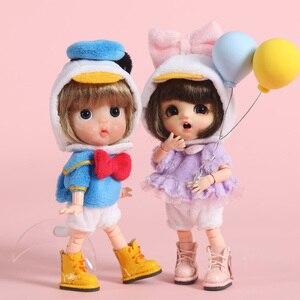 Image 1 - 新 3 個 = シャツ + 下着 + 帽子アヒル衣装洋服人形 ob11 、 obitsu11 、モリー、 1/12bjd 人形の服アクセサリー