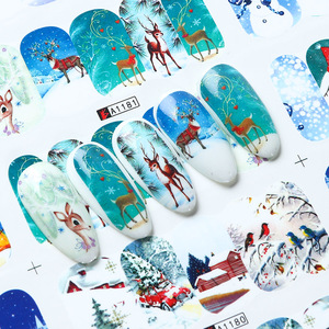 Image 3 - 12pcs adesivi per unghie di natale babbo natale alce pupazzo di neve cursori di trasferimento dellacqua per unghie cartone animato inverno capodanno Manicure JIBN/A 1