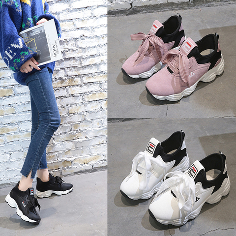 Crescente para Mulheres Rendas até Lona Sapatos de Plataforma Flock Altura Respirável Vulcanizar Sapatos Mulher Tenis Feminino Chaussure Femme