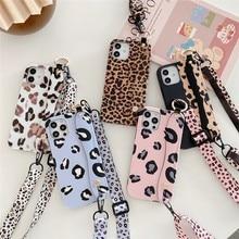 Animal Element Leopard Print Wrist Strap Lanyard Soft Case For Iphone 11 12 Pro Max Mini 7 8 Plus Xr X Xs Se Phone Cover Fundas