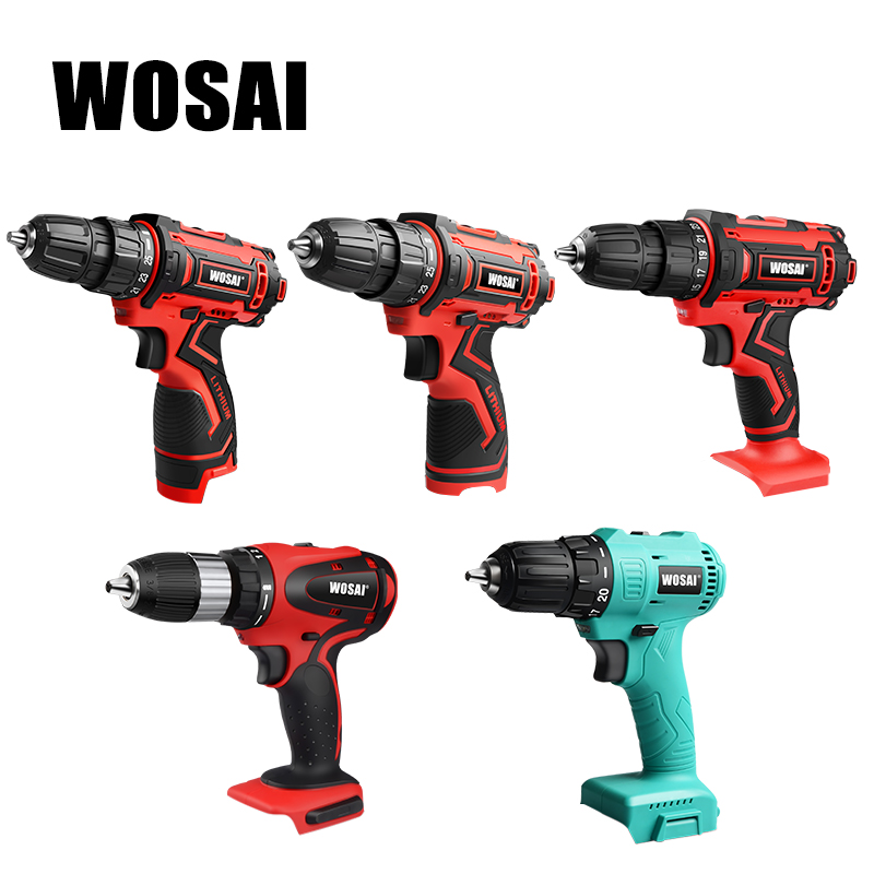 WOSAI 12V 16V 20V Electric Drill Lithium Battery Cordless Electric Hand Drill Power Rechargeable Tools Screwdriver Power Driver