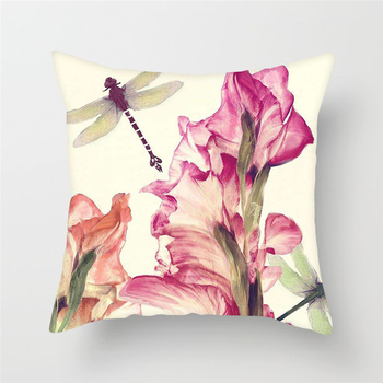 Dragonfly Flower Pattern Cushion Cover