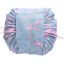 PUOU Organizer Make Cosmetic Bag Case Storage Pouch Toiletry Beauty Kit Box Women Drawstring Travel Cosmetic Bag Makeup Bag