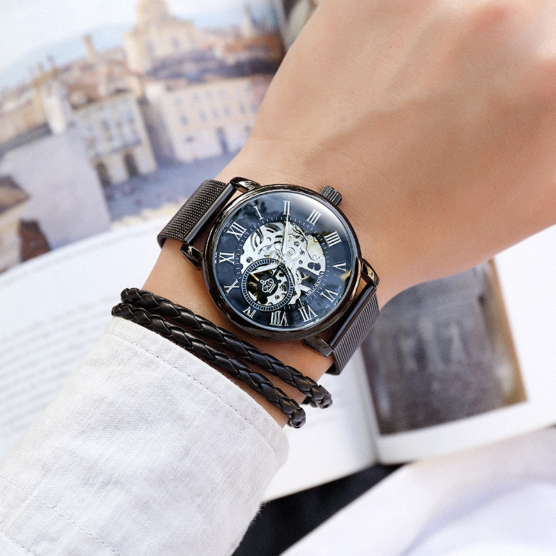 H8facfcc72565435d8477ec7d6ea780f3c Coupons Sale Men Watches Mechanical Hand Wind Luxury Top Brand ORKINA Skeleton Stainless Steel Bracelet Mesh Strap Men's Watches