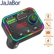 JaJaBor 블루투스 5.0 자동차 FM 송신기 MP3 플레이어 무선 핸즈프리 차량용 키트 수신기 어댑터와 PD USB 전화 충전기