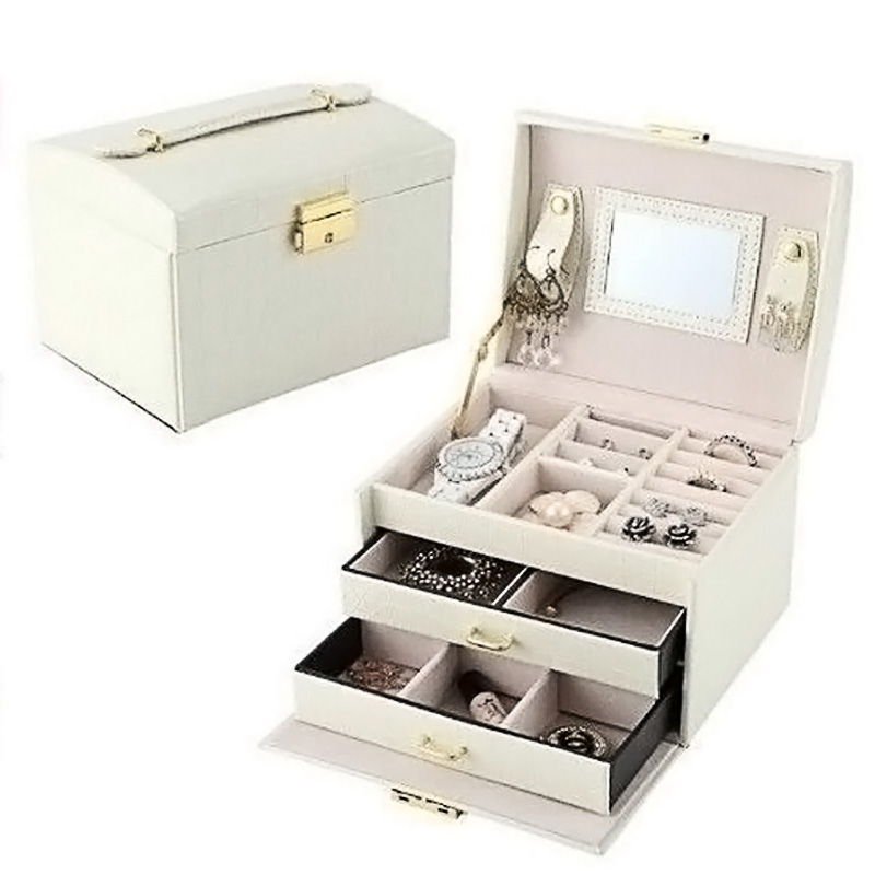 Cosmetic Storage Box Desktop Drawer Makeup Organizer Jewelry Packaging Casket Make Up Storage Container 3 Layers 2 Drawers in Storage Boxes Bins from Home Garden