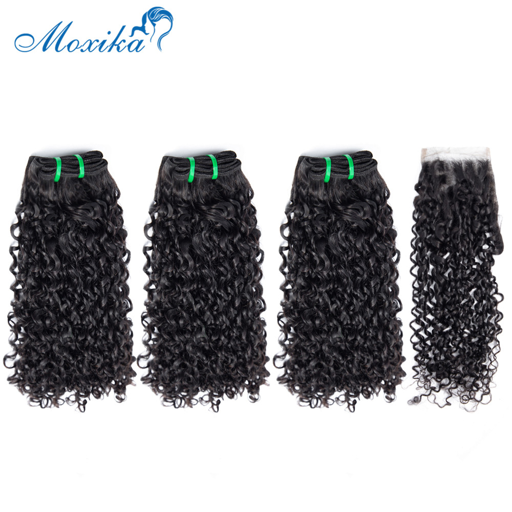 Moxika Fumi Pixie Curls Bundles With Closure Double Weft Remy Indian Curly Human Hair Bundles With Closure