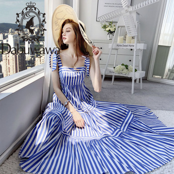 Dabuwawa Vacation Striped Cami Dress Female Elegant Sleeveless Striped Long Dress Modern Lady Women Party Dresses DT1BDR056 knot front striped dress