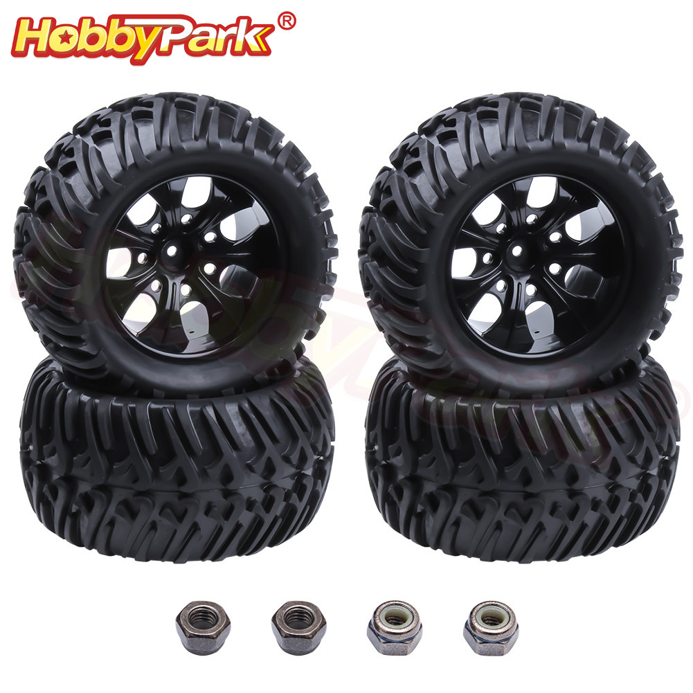 4PCS 1/10 RC Monster Truck Tires & Wheels 12mm Hex For RC Car HSP BRONTOSAURUS Himoto Traxxas HPI Redcat