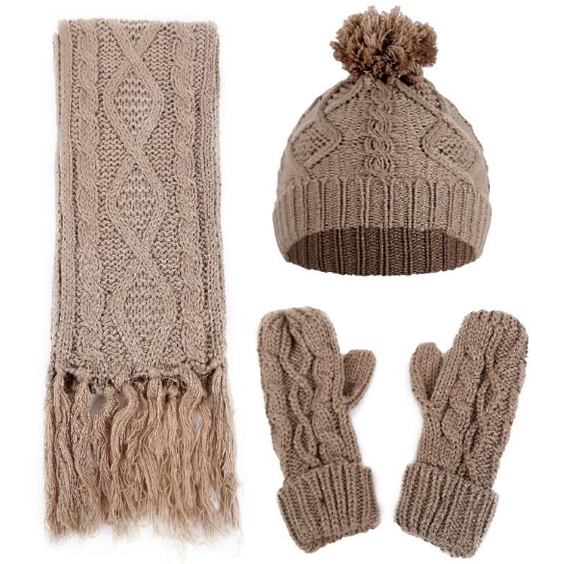 Brand Designer Women Scarf Hat Gloves Set Three-Piece Winter Warm Set Female Hats Scarves Men Unisex Drop Shipping
