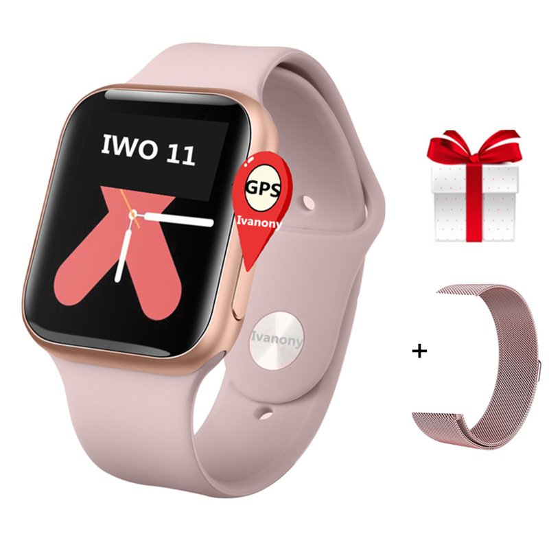 IWO 11 Smart Watch GPS SmartWatch 1:1 Series 4 Smart Clock with Whatsapp Message Reminder Answer Call 44mm Case for Apple Androi image