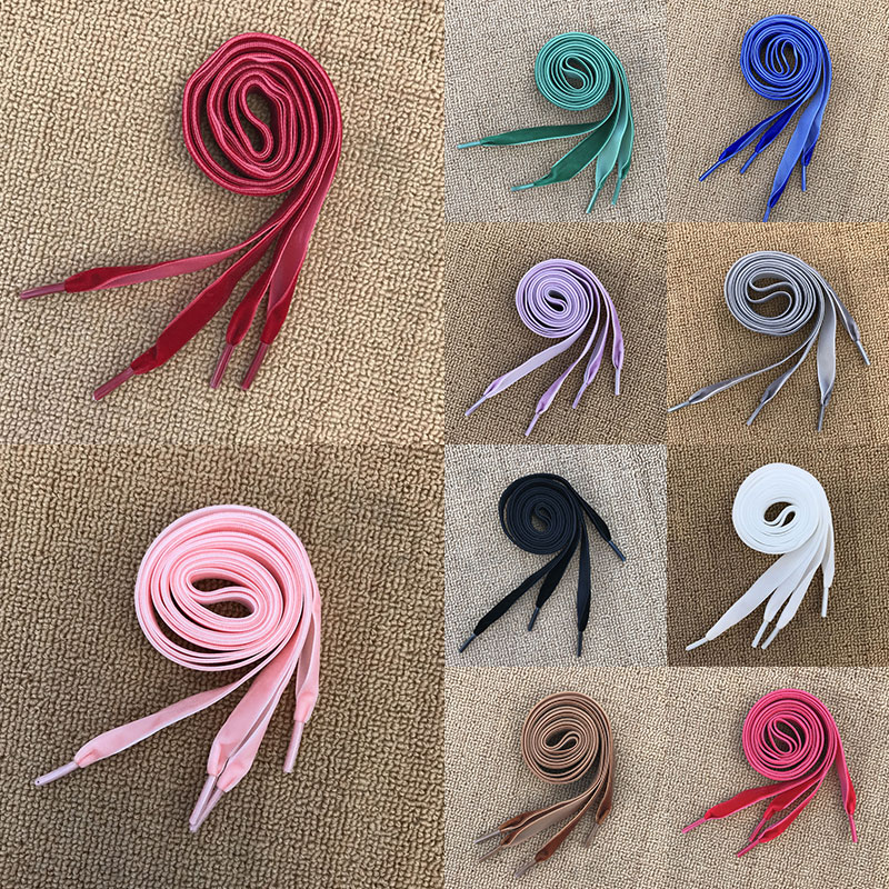 80/160cm Women Flat Velvet Ribbon Shoelaces One Side Hiking Walking Dance Boots Shoes Laces For Kids And Adults