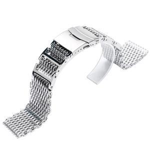 Image 5 - 20mm 22mm 24mm luksusowy pasek od zegarka z siatki rekina wymiana ze stali nierdzewnej składane zapięcie z bezpieczeństwa srebrny + 2 pręty sprężynowe