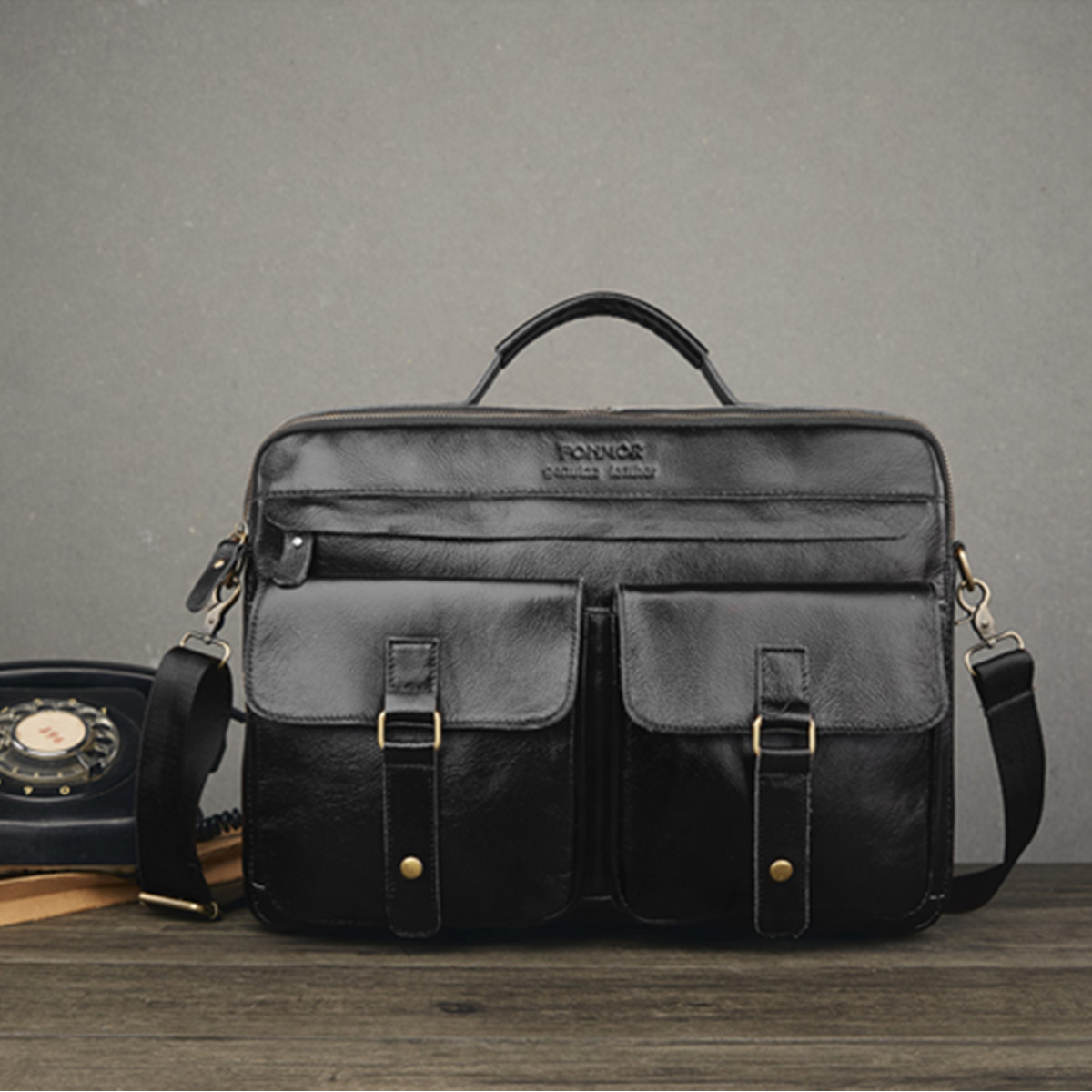 100% Top Layer Cowhide Men Leather Briefcase Business Handbag Messenger Bags Male Vintage Shoulder Bag Men's Large Laptop Bags