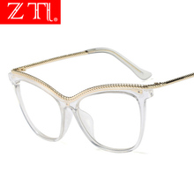 ZT Female Cat Eye Clear Glasses Uv400 Fashion Metal Chain Oversize Transparent Frame Women Eyewear