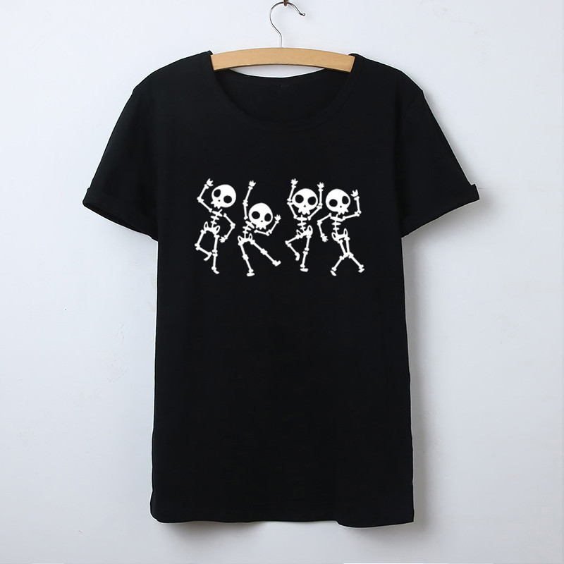 Skeleton Halloween T Shirt Women Skull Punk Rock Graphic Tee Shirt Female Cool Tshirt Top Fashion Camisetas Mujer